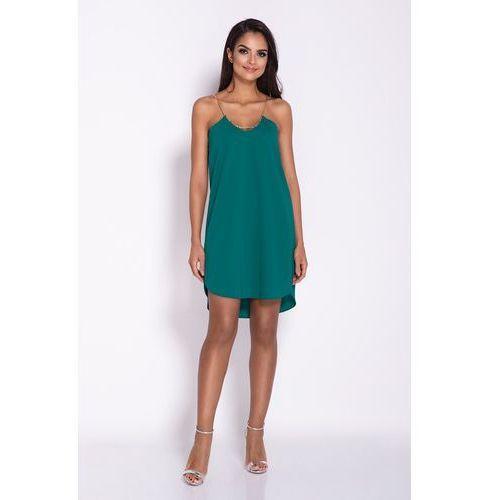 Zielona elegancka luźna sukienka z wydłużonym tyłem na wesele marki Dursi
