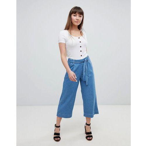 denim tie waist culottes - blue marki New look