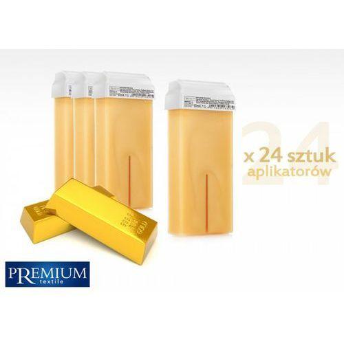Zestaw gabinetowy wosk do depilacji gold z szeroką rolką 80ml x 24 szt marki Premium textile