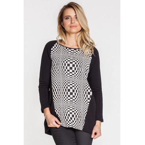 Dzianinowa bluzka z geometrycznym wzorem - Jelonek, kolor czarny