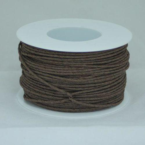 Ozdobny sznurek papierowy z drutem - brązowy - BRĄZ