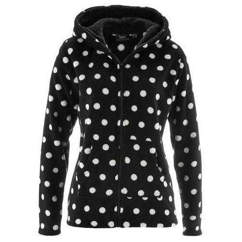 Bluza z polaru z kapturem bonprix czarno-biel wełny w kropki, kolor czarny