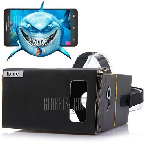Iblue diy cardboard 3d vr glasses headset smart phone 3d private theater with magnetic sensor for 4 - 7 inches smartphone od producenta Gearbest