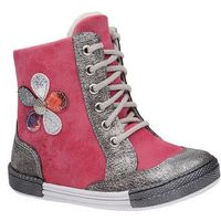 Kornecki Trzewiki zimowe 4995 fuxia różowe ocieplane kozaczki - fuksja   różowy   srebrny