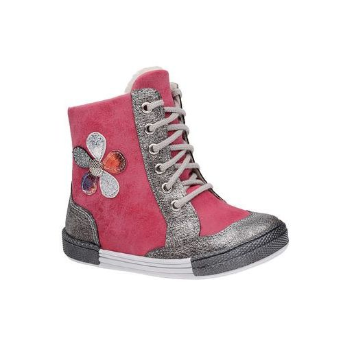 Trzewiki zimowe 4995 fuxia różowe ocieplane kozaczki - fuksja ||różowy ||srebrny marki Kornecki
