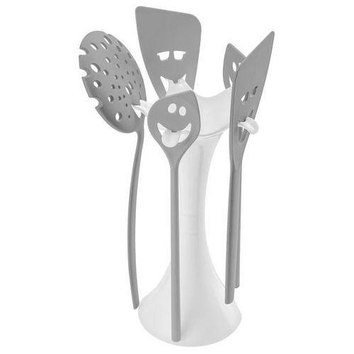 Stojak z akcesoriami meeting point biały z szarymi narzędziami marki Koziol