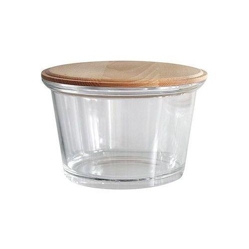 Jasło salaterka szklana drewnianą pokrywką