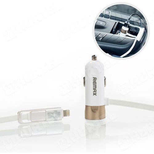 ładowarka samochodowa 3.4a z kablem lightning micro usb biała wyprodukowany przez Remax