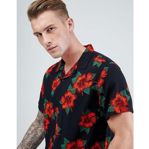 New Look Revere Shirt In Slim Fit With Red Floral Print In Black - Black
