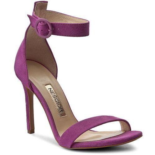 Sandały NEŚCIOR - 103-P Fuksja Zamsz, kolor fioletowy