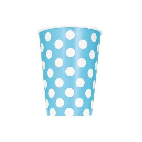 Kubeczki urodzinowe błękitne w białe kropki - 355 ml - 6 szt. marki Unique
