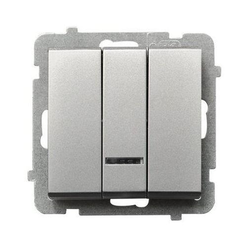 Łącznik potrójny z podświetleniem srebro mat ŁP-13RS/m/38 SONATA