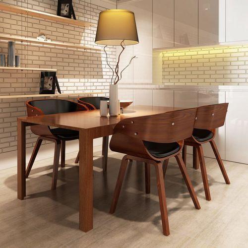 Vidaxl krzesła do jadalni, 4 szt., drewniane, brązowe