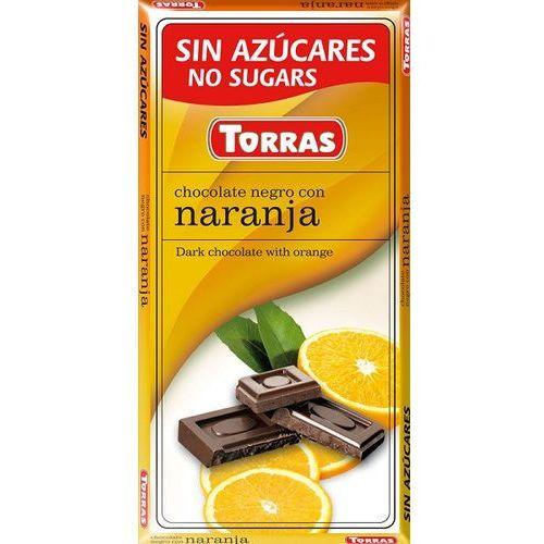 Czekolada gorzka z pomarańczą, bez cukru, bezglutenowa 75g Torras