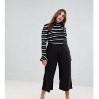 cropped black wide leg trousers in jersey crepe - black, Asos curve