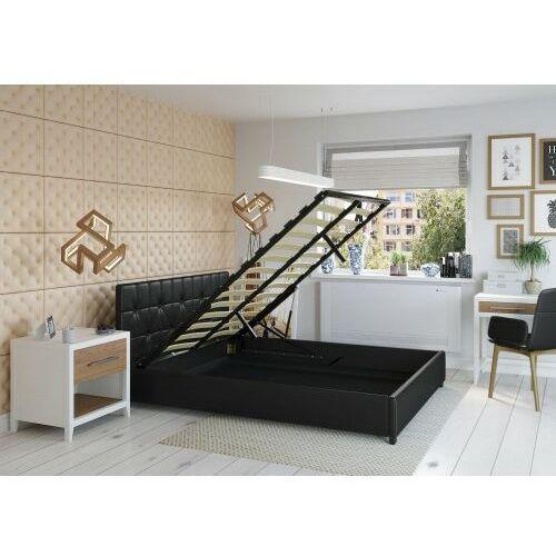 Łóżko 140x200 tapicerowane modena + pojemnik ekoskóra czarne marki Big meble