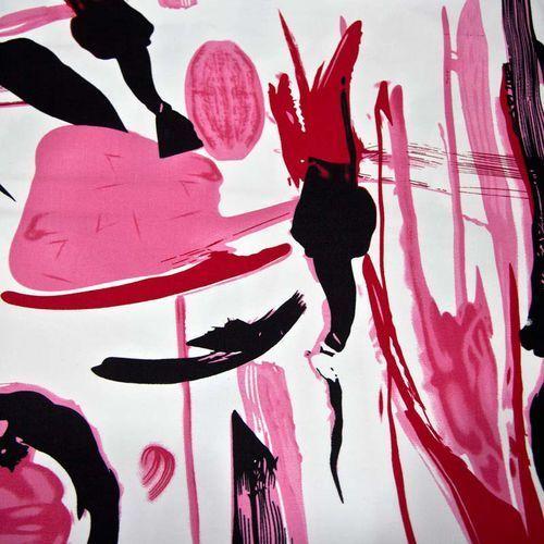 Tkanina bawełniana satynowana - różowe i czarne pociągnięcia pędzla marki Ultramaszyna