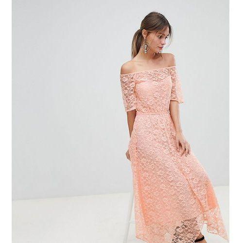 Boohoo Bardot Lace Midi Dress - Pink, kolor różowy