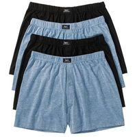 Luźniejsze bokserki (4 pary) niebieski dżins melanż + czarny, Bonprix, M-XXL