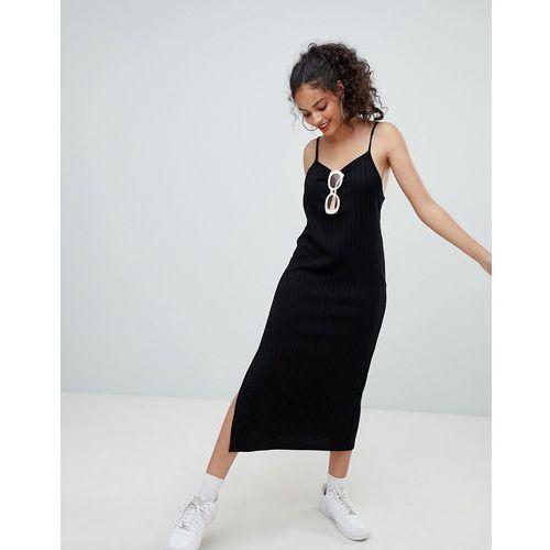 wide rib cami midi dress in black - black marki Bershka