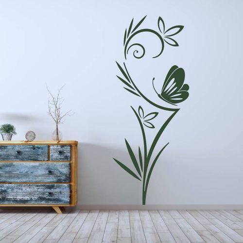 Wally - piękno dekoracji Naklejka na ścianę kwiaty i motyl 2089