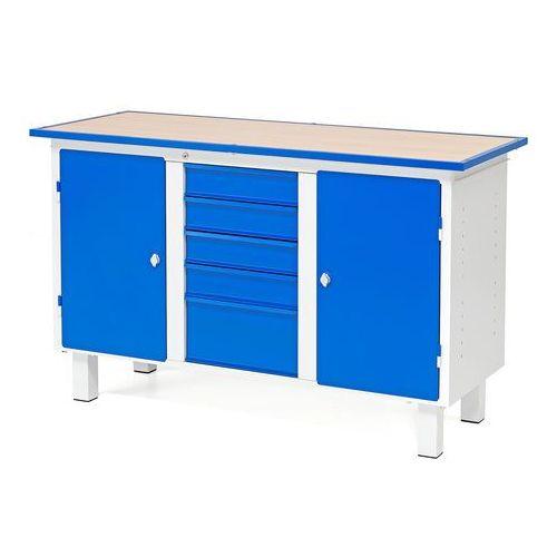 Aj produkty Stół warsztatowy flex, stacjonarny, 2 szafki, 5 szuflad, 1435x590x900 mm