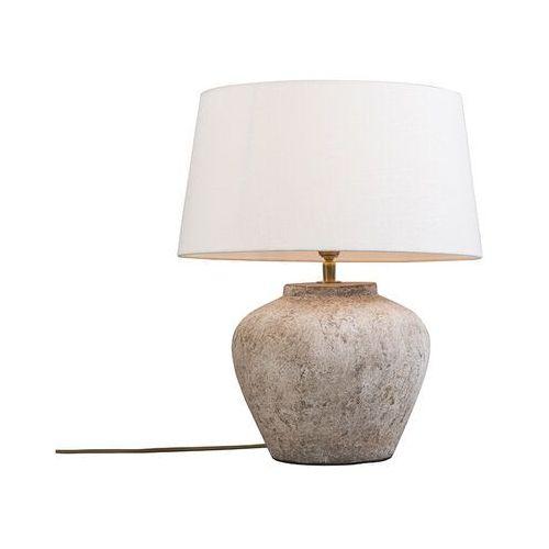 Qazqa Klasyczna lampa stołowa brązowa z białym kloszem - inca xs
