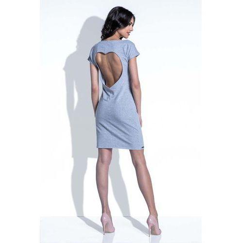 Szara sukienka z wycięciem na plecach marki Fobya