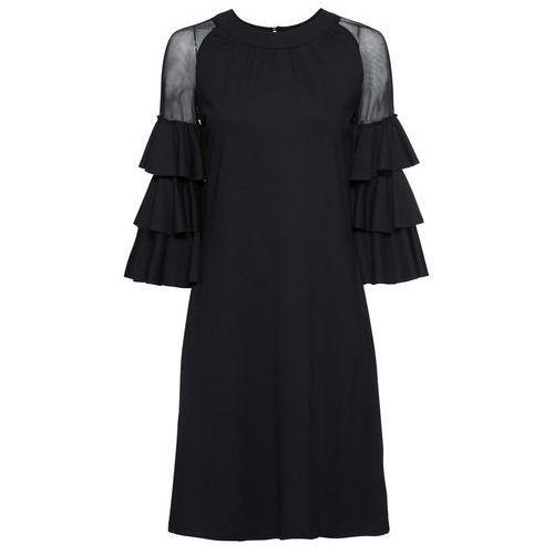 Sukienka z dżerseju z wycięciami na ramionach czarno-biały w paski marki Bonprix