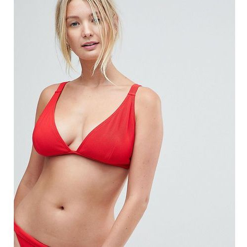 Wolf & Whistle Red Rib Triangle Bikini Top DD - G Cup - Red, bikini