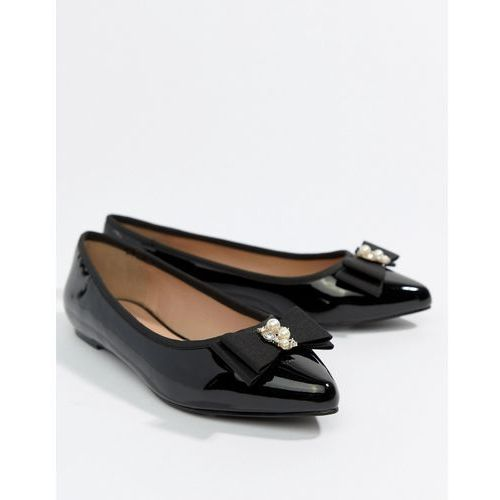 pearl bow flat point shoe - black, Miss kg