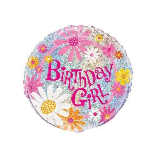 Unique Balon foliowy urodzinowy w kwiatki - 47 cm
