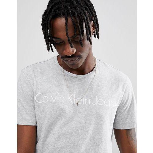Calvin Klein Jeans T-Shirt In Grey Marl With Script Print - Grey, kolor szary