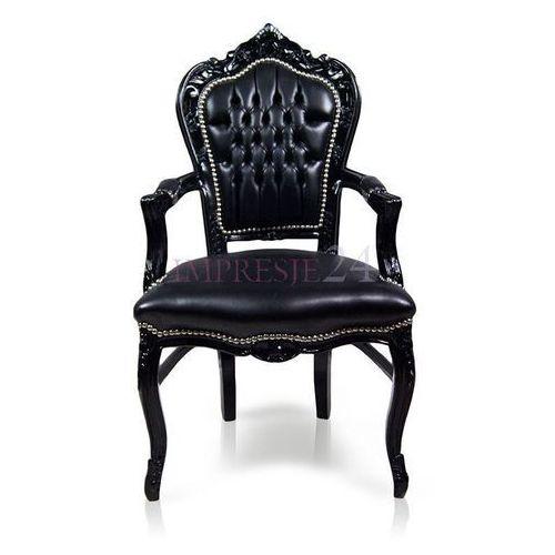Stylowe, barokowe krzesło z serii KAIR, podłokietniki, czarna rama, obicie czarna ekoskóra., kolor Stylowe,