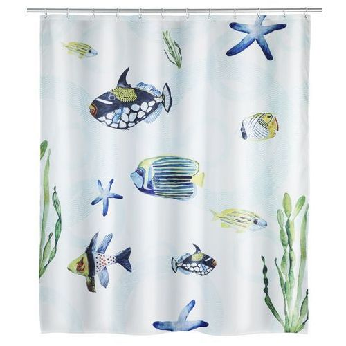 Zasłonka prysznicowa Aquaria, motyw morski, wielokolorowa, wykonana z poliestru, wymiary 200 x 180 cm, mocowana na gumowej taśmie (4008838221976)
