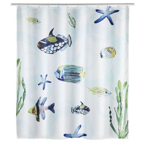 Zasłonka prysznicowa Aquaria, motyw morski, wielokolorowa, wykonana z poliestru, wymiary 200 x 180 cm, mocowana na gumowej taśmie