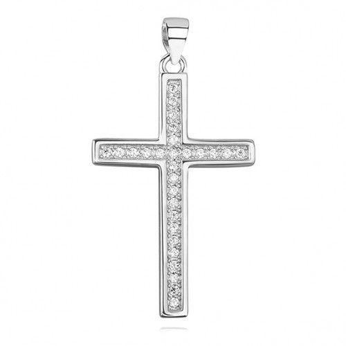 Produkt polski Elegancki krzyżyk srebrny z cyrkoniami, pr.925.