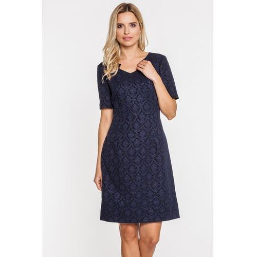 Wzorzysta sukienka o lekko rozszerzonym dole - Potis & Verso, kolor niebieski