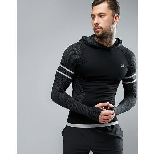 River Island ACTIVE Seamless Top With Hood And Fluro Detail In Black - Black