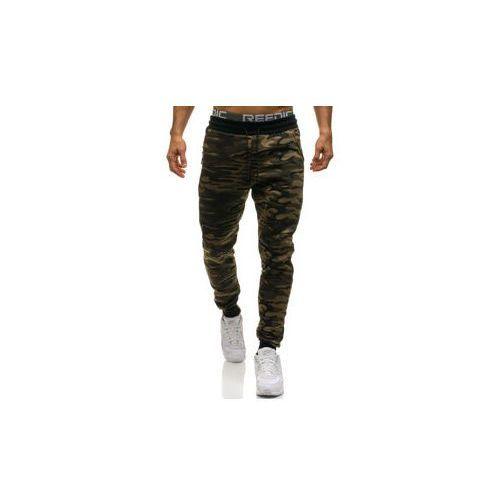 Spodnie męskie dresowe moro-zielone Denley HL8497, kolor zielony