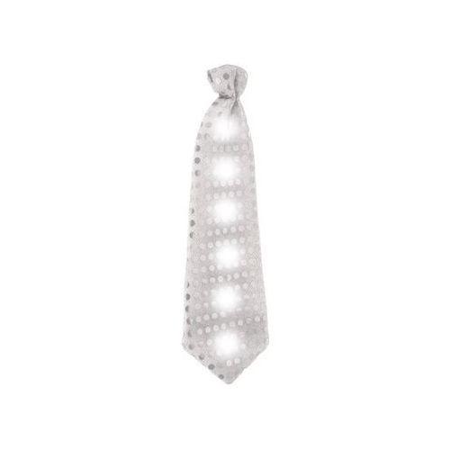 Krawat świecący z cekinami srebrny - 30 cm - 1 szt. (5901238639145)