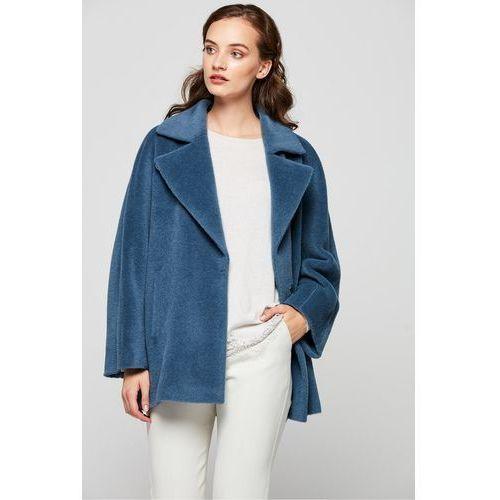 Błękitny krótki płaszcz z suri alpaki - Patrizia Aryton, kolor niebieski