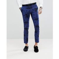 Noose & monkey super skinny suit trousers in flocking - blue