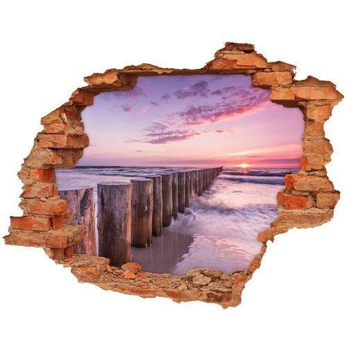 Dziura 3d w ścianie naklejka Drewniany falochron