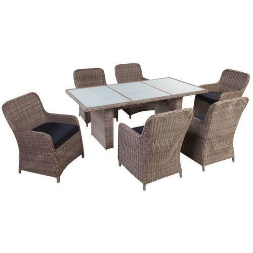 Vidaxl 7-cz. zestaw mebli ogrodowych z poduszkami, rattan pe, brązowy (8718475965664)