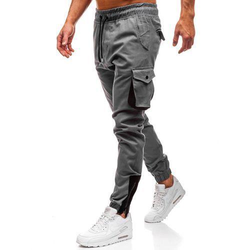 Spodnie męskie joggery bojówki szare denley 0705, Athletic