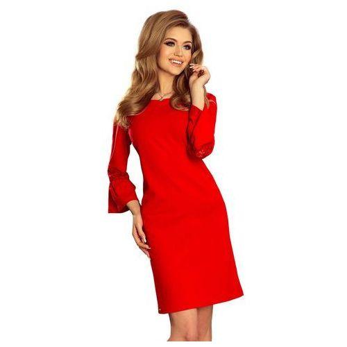 Czerwona Sukienka Wizytowa z Koronką na Rękawie, C190-3re