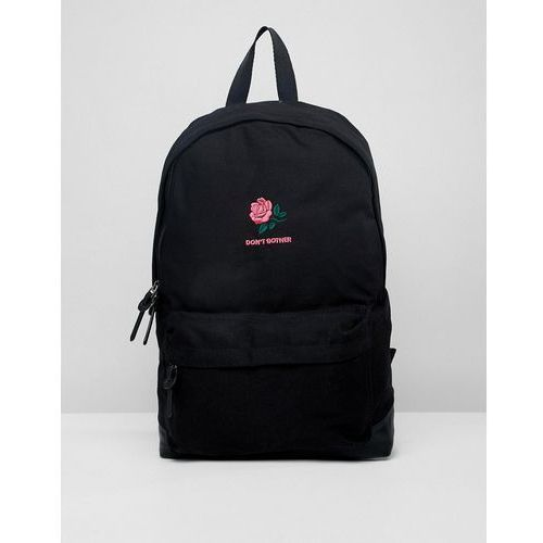 Asos design backpack in black with don't bother rose embroidery - black