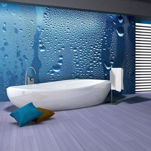 Fototapeta - krople wody na niebieskiej szybie marki Artgeist
