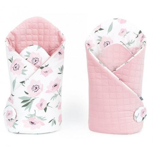 Rożek niemowlęcy dwustronny velvet lux -Kwiaty na ecru/ Różany
